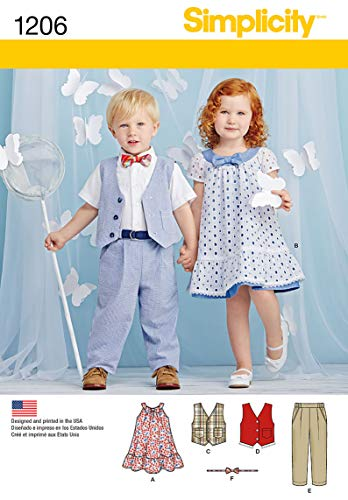 Simplicity 1206 Boy's and Girl's Toddler Pants, Vest, Dress, Bow-Tie and Belt Sewing Patterns, Sizes A (1/2-4) (Sewing Patterns For Toddler Boys)