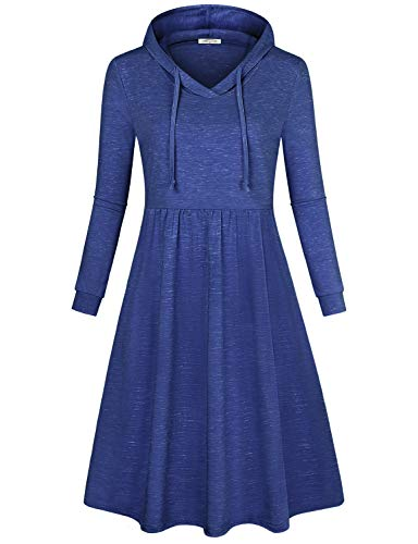 SeSe Code Autumn Dresses for Women, Women's Casual Fitted Long Sleeve High Waist Drawstring Neck Stretchy Knit Above Knee Flared Petite Skater A-line Jersey Shift Dress Royal Blue Small -