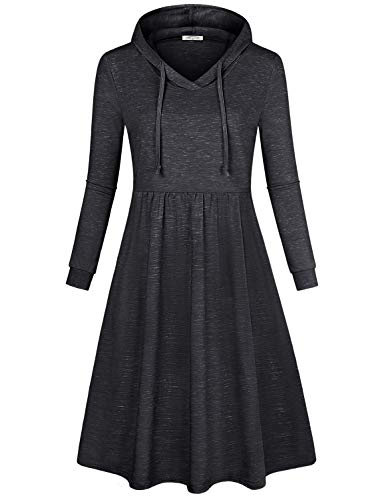 SeSe Code Shirt Dresses for Women, Long Tunic Tops Cotton Knitted Elastic Waist Slim Fit Lightweight Full Sleeve Flare Flowy Hem Over Knee Length Saturday Sunday Dress Space Dye Black Small