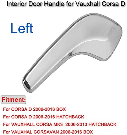 WonVon Chrome Interior Door Handle Right//Left for Vauxhall Corsa D Left 13297813