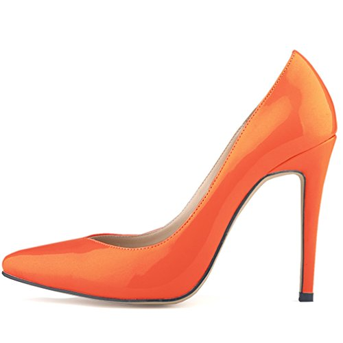 Women's Heels Pointed High Orange Dress Toe Stiletto SAMSAY Pumps Shoes wFHOqn