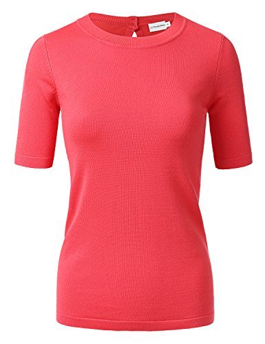 Ribbed Short Sleeve Sweater (JJ Perfection Women's Short Sleeve Back Keyhole Closure Knitted Sweater Top Coral M)