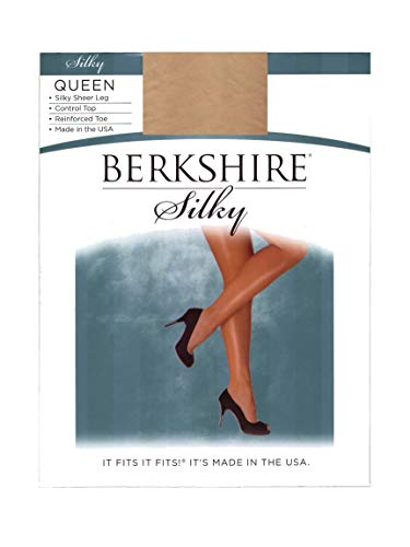 Berkshire Women's Plus-Size Queen Silky Sheer Control Top Pantyhose 4489,Nude, 3X-4X -
