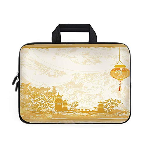 Lantern Laptop Carrying Bag Sleeve,Neoprene Sleeve Case/Old Paper with Ancient Japanese Buildings Depicted on Asian Retro Style Samurai Decorative/for Apple Macbook Air Samsung Google Acer HP DELL Len