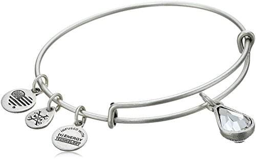 Alex and Ani April Birth Month Charm with Swarovski Crystal Rafaelian Silver Bangle Bracelet