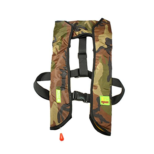 (Lifesaving Pro Premium Quality Auto/Manual Inflatable Life Jacket Floating Vest Inflate Survival Aid PFD Basic, Green Cam)