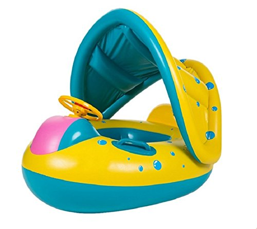 Inflatable Baby Pool Float ,TechCode Inflatable Baby Pool Float Swimming Ring Children Toddler Aid Seat Boat with Sun Canopy for the Age 6 to 24 Months with Storage Bag and Air Pump (6 to 24 Months)