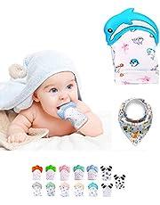 Funky Planet Baby dentición Manoplas, Protege Manos Bebés, Pain Relief Tranquilizadora de Edad + BUFANDAS (Dolphin Blue)