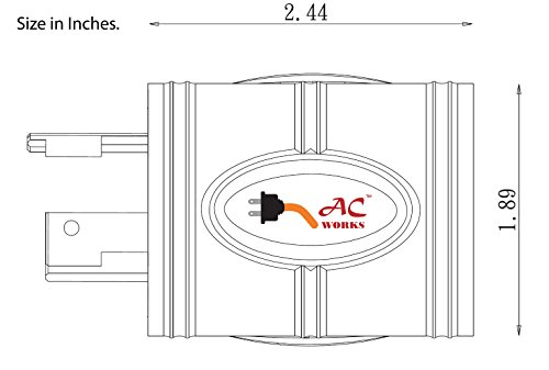 AC WORKS [ADL620620] NEMA L6-20P 20Amp 250Volt Locking Plug to NEMA 6-15/20R 15/20Amp 250Volt Female Connector Adapter by AC WORKS (Image #3)