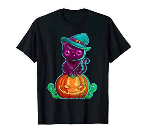 Halloween Black Cat Scary Pumpkin Horror Gift Witch Hat T-Shirt -