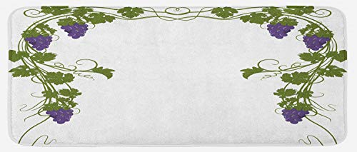 Lunarable Vine Kitchen Mat, Grapevine Arch Design Wedding Inspired Green Gate of Happiness Good Memories Print, Plush Decorative Kitchen Mat with Non Slip Backing, 47 W X 19 L Inches, Violet Green