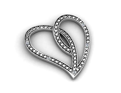 Précieuses Strass UK-Diamant 0,03 carats pendentif en forme de cœur-Or blanc 9 carats-certificat Par AGI