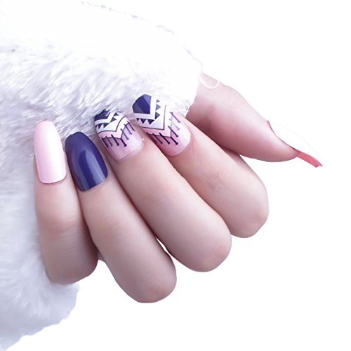 24pcs 12 Different Size Coffin Elegant Exotic Geometric Solid Deep Blue Pink Long Full Cover False Nails with (Adult Elegant Coffin)