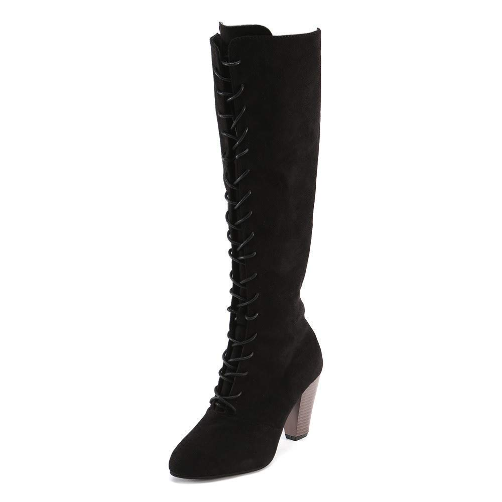 Oudan Stiefel Damen Schuhe Stiefeletten Mode Frauen Straps Slim Zip Hohe Stiefel Overknee Stiefel High Heels Martin Schuhe (Farbe   Schwarz Größe   36 EU)