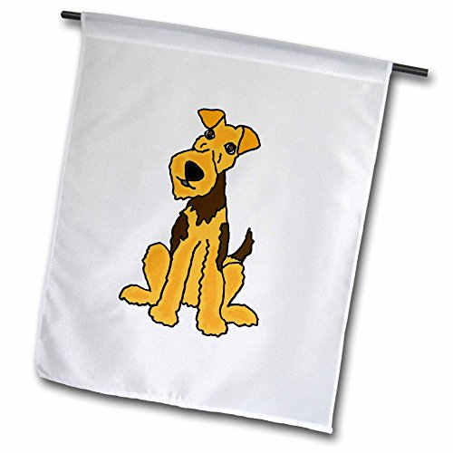 3dRose All Smiles Art Pets - Funny Cute Airedale Terrier Puppy Dog Cartoon - 12 x 18 inch Garden Flag (fl_245413_1) - Airedale Puppy Dog