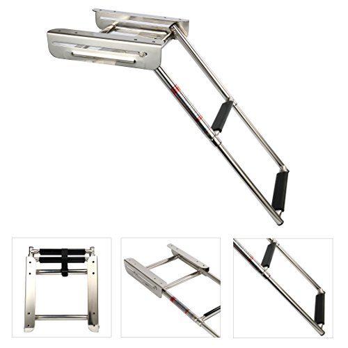 Amarine-made 2-step Under Platform Slide Mount Boat Boarding Ladder, Telescoping, Stainless Steel-7325S by Amarine-made