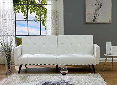 Naomi Home Convertible Tufted Futon Sofa Faux Leather/White