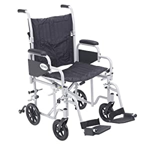 """Drive Medical Poly Fly Light Weight Transport Chair Wheelchair with Swing-Away Footrest, Silver, 20"""""""