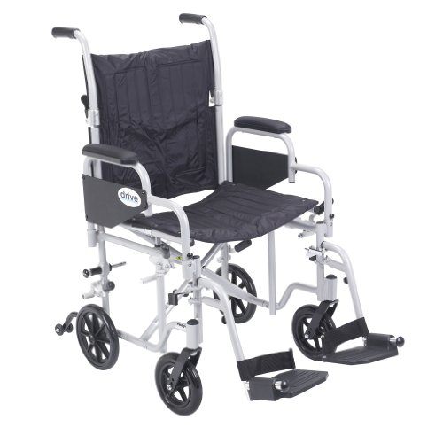 Drive Medical Poly Fly Light Weight Transport Chair Wheelchair with Swing-Away Footrest, Silver, 20""