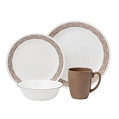 "Corelle Livingware 16-Piece Dinnerware Set, Sand Sketch, Service for 4 - Service for 4 includes: 4 each 10-1/4"" Dinner Plates, 6-3/4"" Bread and Butter Plates, 18-Ounce Soup/Cereal Bowls, 11-Ounce Stoneware Mugs Made with break and scratch resistant patented Vitrelle glass technology Space saving design: lightweight and thin, yet extremely durable - kitchen-tabletop, kitchen-dining-room, dinnerware-sets - 41E4MUAS29L. SS400  -"