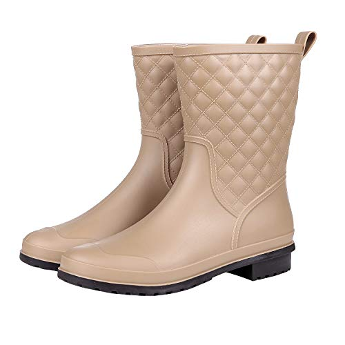 - Asgard Women's Mid Calf Rain Boots Waterproof Rubber Booties Garden Shoes KH36 Khaki