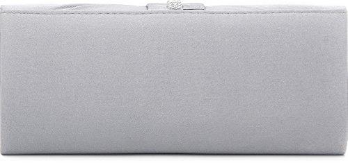 VINCENT PEREZ, Embrague, bolsos de noche, bandolera, bolsos para el hombro, bolsos para axilas, satén con strass, cadena desmontable (120 cm), 24,5x10,5x4,5 cm (AN x AL x pr), color: gris oscuro plata