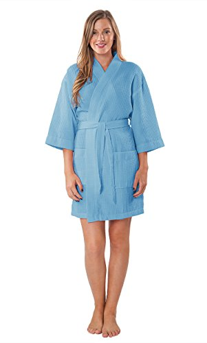 Turquaz Linen Lightweight Knee Length Waffle Kimono Bridesmaids Spa Robe (Serenity Blue, Large) ()