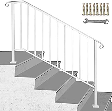 LOVSHARE 4-Step Adjustable Handrail Fits 1 or 4 Steps Matte White Stair Rail Wrought Iron Handrail with Installation Kit Hand Rails for Outdoor Steps