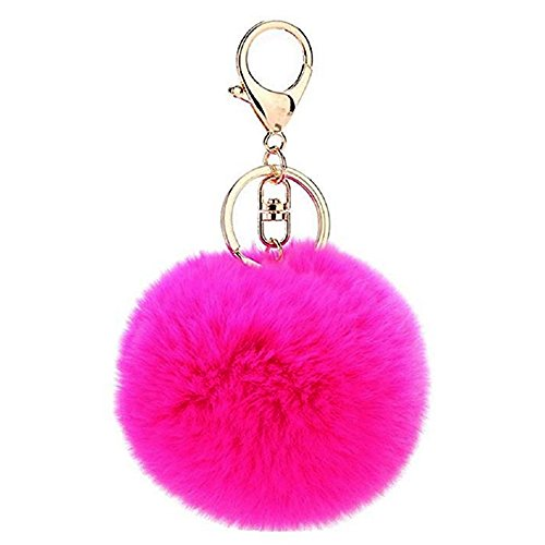 - Prince2018 Ball Pom Pom Keychain Fur Ball Keyring Fluffy Accessories Car Key Bag Charm (rose)