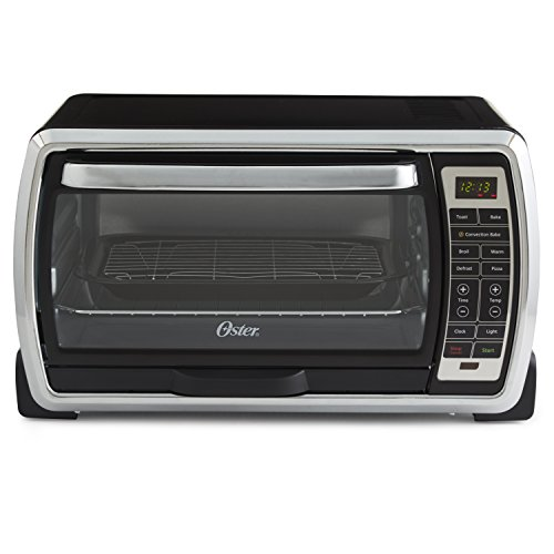 Oster Large Digital Countertop Convection Toaster Oven, 6 Slice, Black/Polished Stainless (TSSTTVMNDG-SHP-2) image