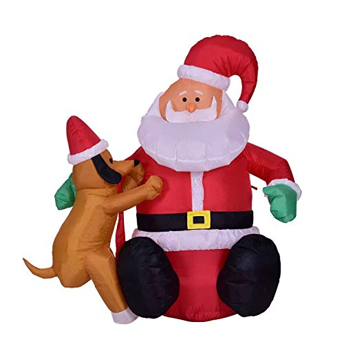 Xhope 4 Feet Inflatable Santa Claus Christmas Dog Decoration LED Lighted Blow-Up Yard Party Decoration for Christmas Xmas Partinng (US Plug 110V)