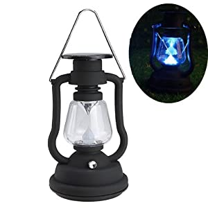 Cworlds Solar Power Lantern Lanterns Garden Lantern Antique Light Lamp 7  LED Garden Light Lamp Black