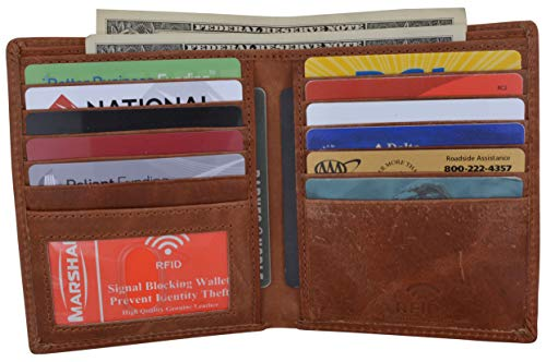 RFID Blocking Bifold Hipster Credit Card Wallet Premium Lambskin Leather (Antique)