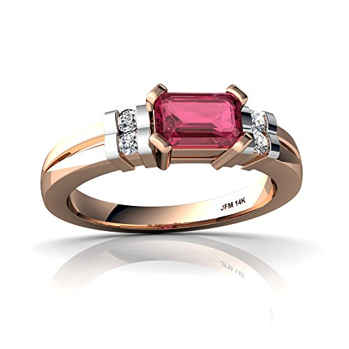 14kt Rose Gold Pink Tourmaline and Diamond 6x4mm Emerald_Cut Art Deco Ring - Size 8