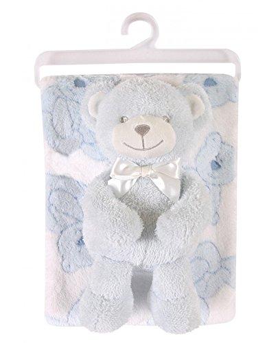 (Stephan Baby Snuggle Fleece Crib Blanket and Plush Toy Set, Blue)