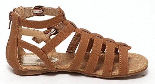 Mädchen Römersandalen Sandalen Riemchensandalen Sandalette Sommersandalen Flats Schuhe mit Riemchenverschluss COGNAC braun Gr. 27-36