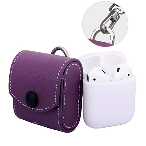 - MoKo AirPods Case, Snap Closure Protective Cover Carrying Pouch Pocket, with Holding Strap, Leather Protective Cover Shell Skin Storage for Apple AirPods 1 Charging Case - Purple