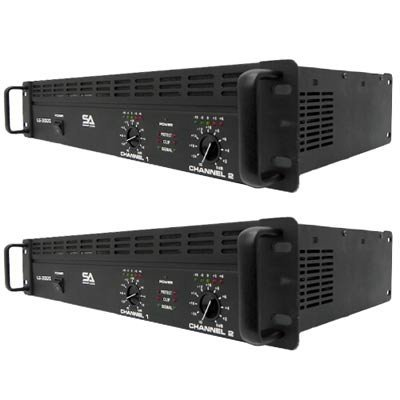 Seismic Audio - MBG-4000Pair - Pair of Power Amplifiers - 2 x 500 Watts at 8 Ohms - 2 x 1000 Watts at 4 ohms -