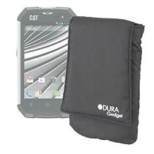 DURAGADGET Black Cushioned Cover With Velcro Closure & Belt Loop For The Caterpillar CAT B15 & B15Q Smartphone