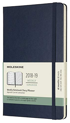 (Moleskine Classic 18 Month 2018-2019 Weekly Planner, Hard Cover, Large (5