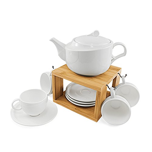 Tea Service Set, 77L Ceramic Tea Pot (22 OZ, 2.7 Cup), 4-Piece Tea Cups (3.4 OZ) and Saucers with Bamboo Display Stand - Modern Teapot, Tea Cups and Saucers Set for Home and Office, White