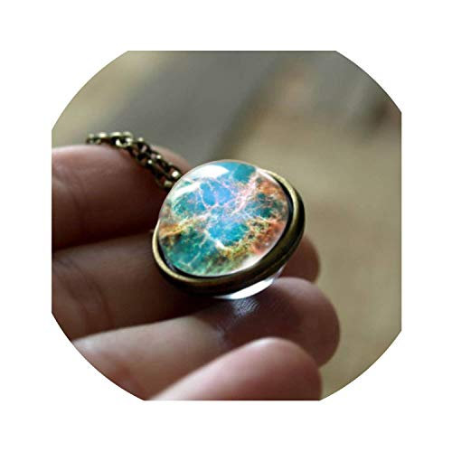 Pendant 2019 Double Sided Pendant Outer Space Necklace Universe Silver Jewelry Glass Art Picture Handmade - Diameter Circle Lighting Track