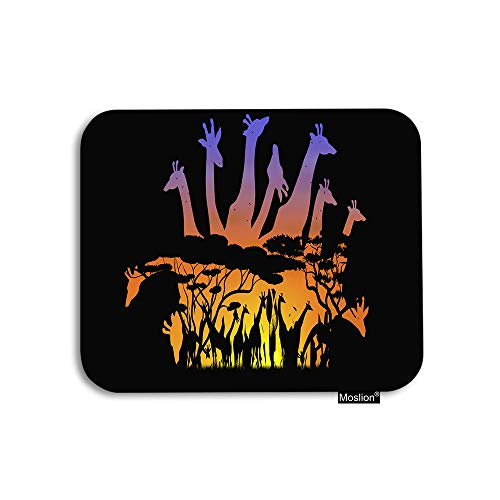Moslion Giraffe Mouse Pad African Giraffe Family Animal Wildlife Nature Tree Gaming Mouse Pad Rubber Large Mousepad for Computer Desk Laptop Office Work 7.9x9.5 Inch Black Orange