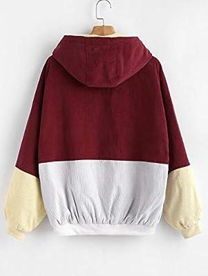 ZAFUL Women Teen Hooded Color Block Corduroy Jacket Long Sleeve Oversized Coat