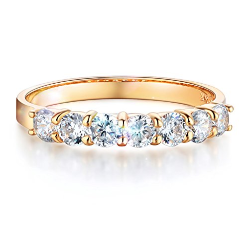 Yellow Gold Anniversary Band (Wellingsale Ladies Solid 14k Yellow Gold Polished CZ Cubic Zirconia Round Cut Seven 7 Stone Anniversary Wedding Band - Size 7)