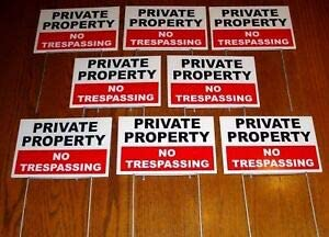 """Metal Stake Private Property No Trespassing 18/""""x12/"""" Yard Sign Coroplast"""