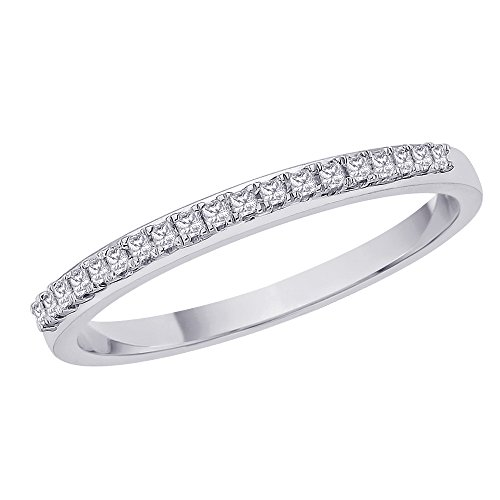 Prong Diamond Wedding Band (Princess Cut Diamond Anniversary Wedding Band Stackable Ring in Sterling Silver (1/10 cttw) (Size-4.5))