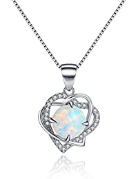 ''Moonlight Sonata'' Sterling Silver Open Heart Created Opal Heart Necklace - Valentine's Day Gifts
