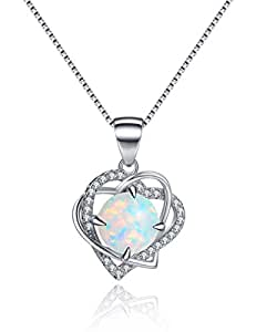Open Heart Created Opal Necklace Sterling Silver Pendant Necklace for Women Simulated Diamond