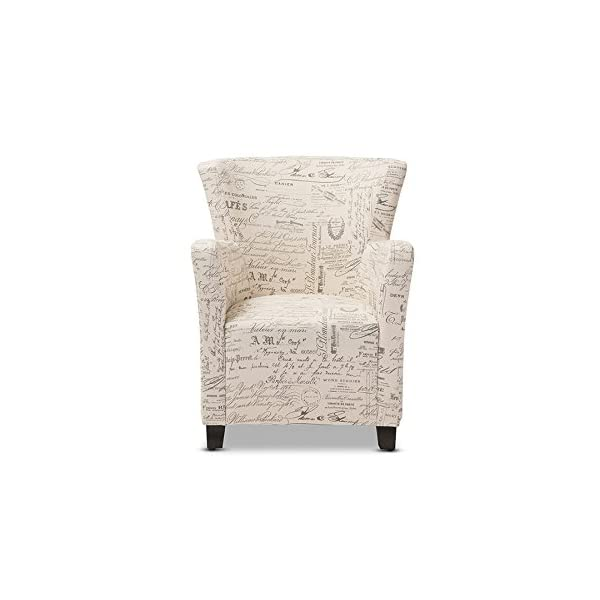 Baxton Studio Benson French Script Patterned Fabric Club Chair Ottoman Set